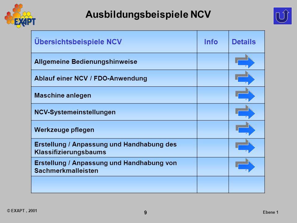 © EXAPT, 2001 9 Ebene 1 Ausbildungsbeispiele NCV Übersichtsbeispiele NCV InfoDetails Allgemeine Bedienungshinweise Ablauf einer NCV / FDO-Anwendung Ma