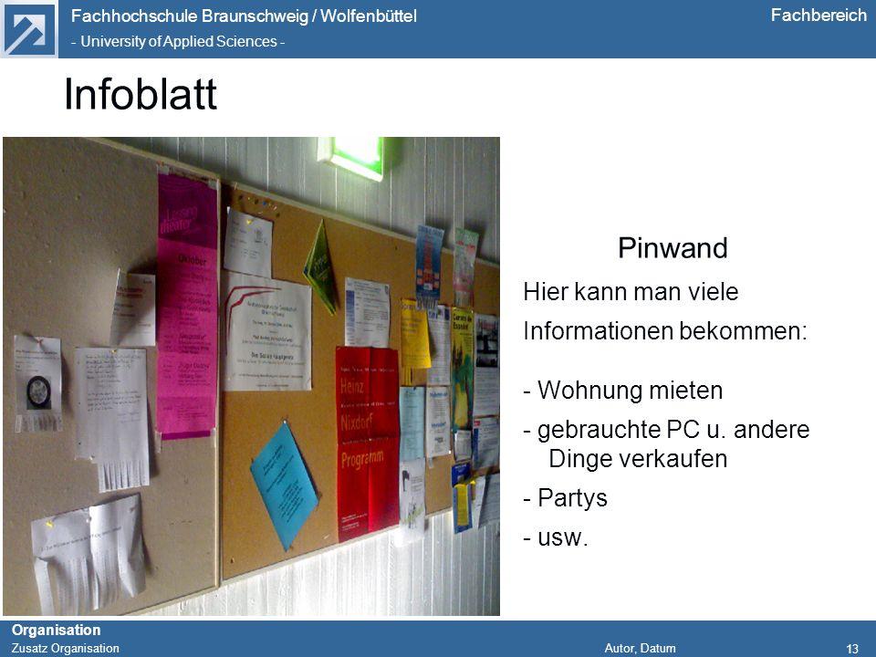 Fachhochschule Braunschweig / Wolfenbüttel - University of Applied Sciences - Organisation Zusatz Organisation Autor, Datum Fachbereich 13 Infoblatt P