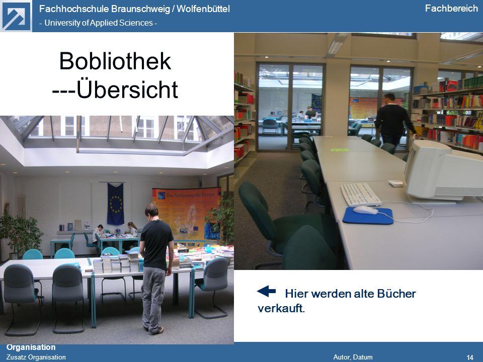 Fachhochschule Braunschweig / Wolfenbüttel - University of Applied Sciences - Organisation Zusatz Organisation Autor, Datum Fachbereich 14 Bobliothek