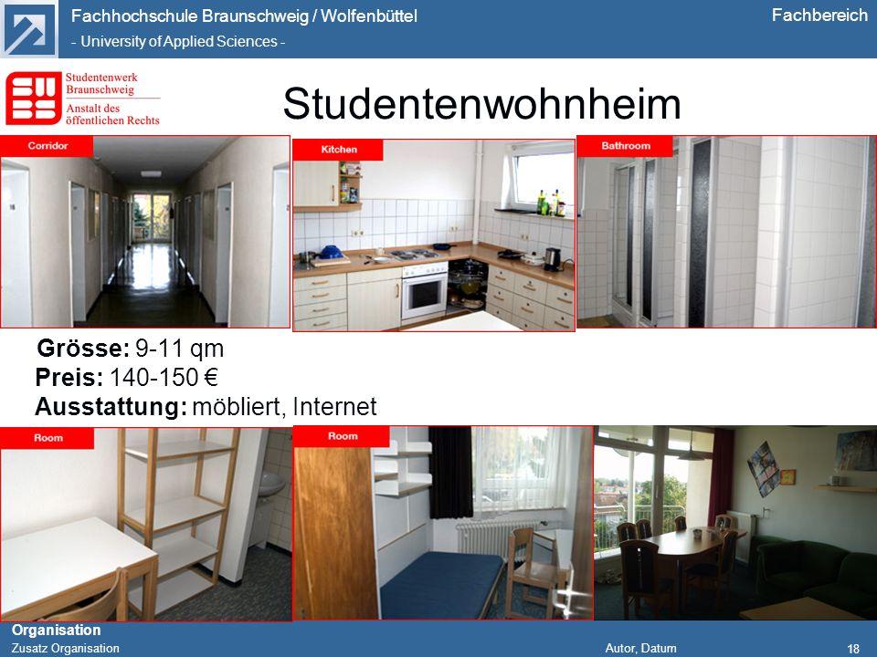 Fachhochschule Braunschweig / Wolfenbüttel - University of Applied Sciences - Organisation Zusatz Organisation Autor, Datum Fachbereich 18 Studentenwo