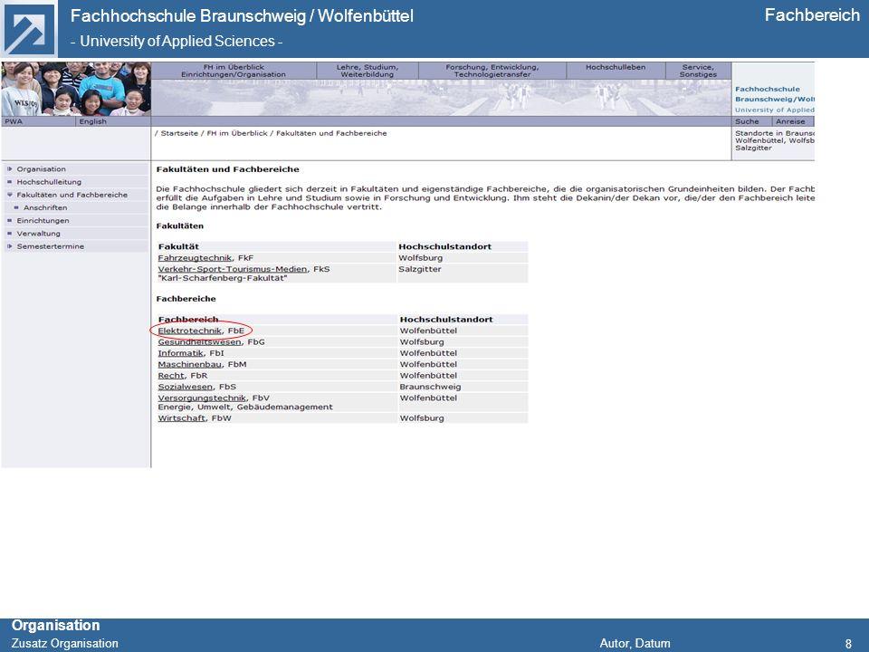 Fachhochschule Braunschweig / Wolfenbüttel - University of Applied Sciences - Organisation Zusatz Organisation Autor, Datum Fachbereich 8