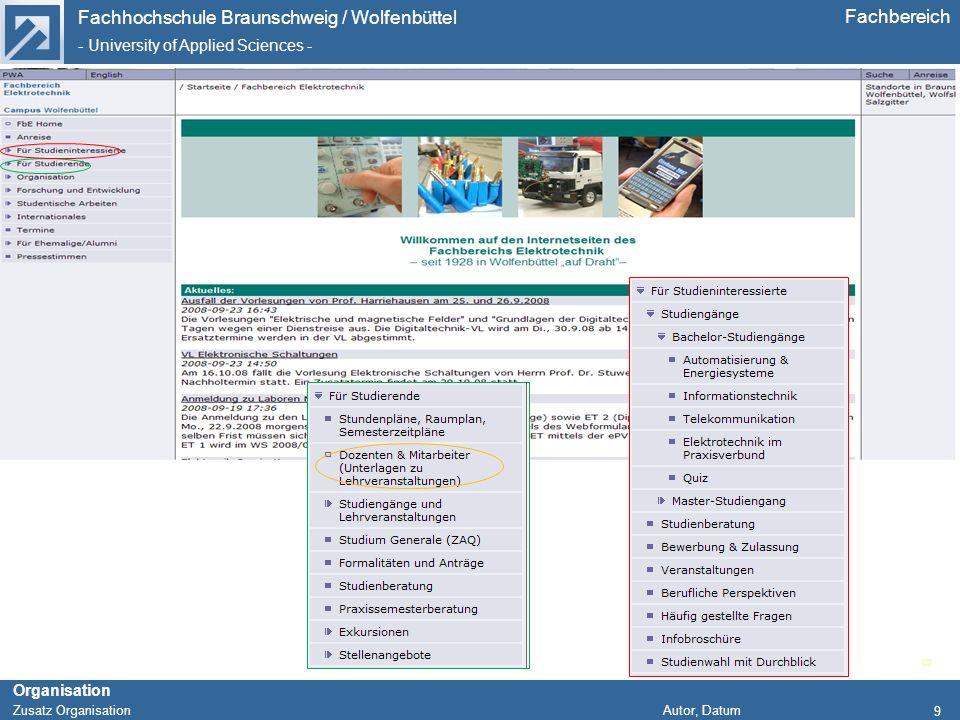 Fachhochschule Braunschweig / Wolfenbüttel - University of Applied Sciences - Organisation Zusatz Organisation Autor, Datum Fachbereich 9