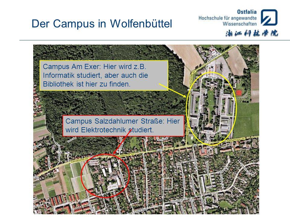 Campus Salzdahlumer Straße: Hier wird Elektrotechnik studiert. Campus Am Exer: Hier wird z.B. Informatik studiert, aber auch die Bibliothek ist hier z
