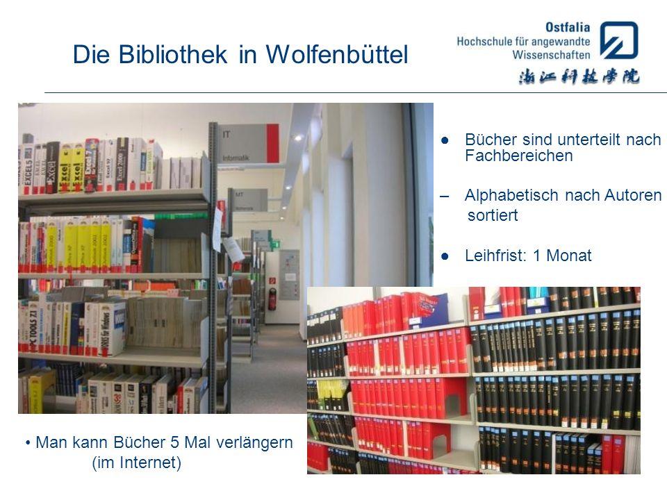Bücher sind unterteilt nach Fachbereichen –Alphabetisch nach Autoren sortiert Leihfrist: 1 Monat Man kann Bücher 5 Mal verlängern (im Internet)