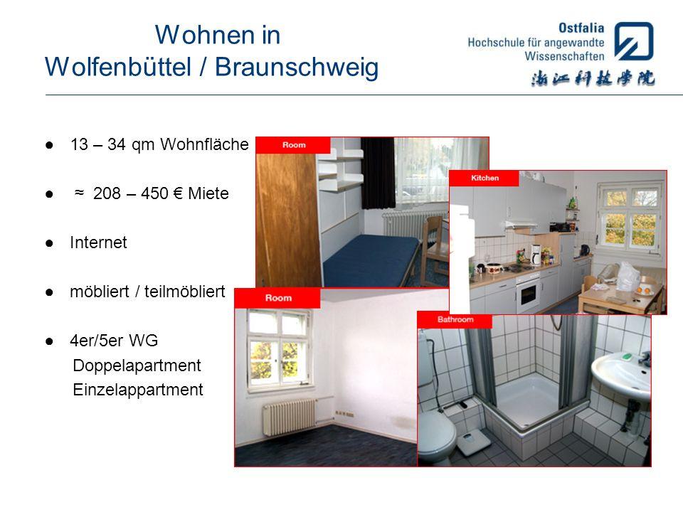 Wohnen in Wolfenbüttel / Braunschweig 13 – 34 qm Wohnfläche 208 – 450 Miete Internet möbliert / teilmöbliert 4er/5er WG Doppelapartment Einzelappartme