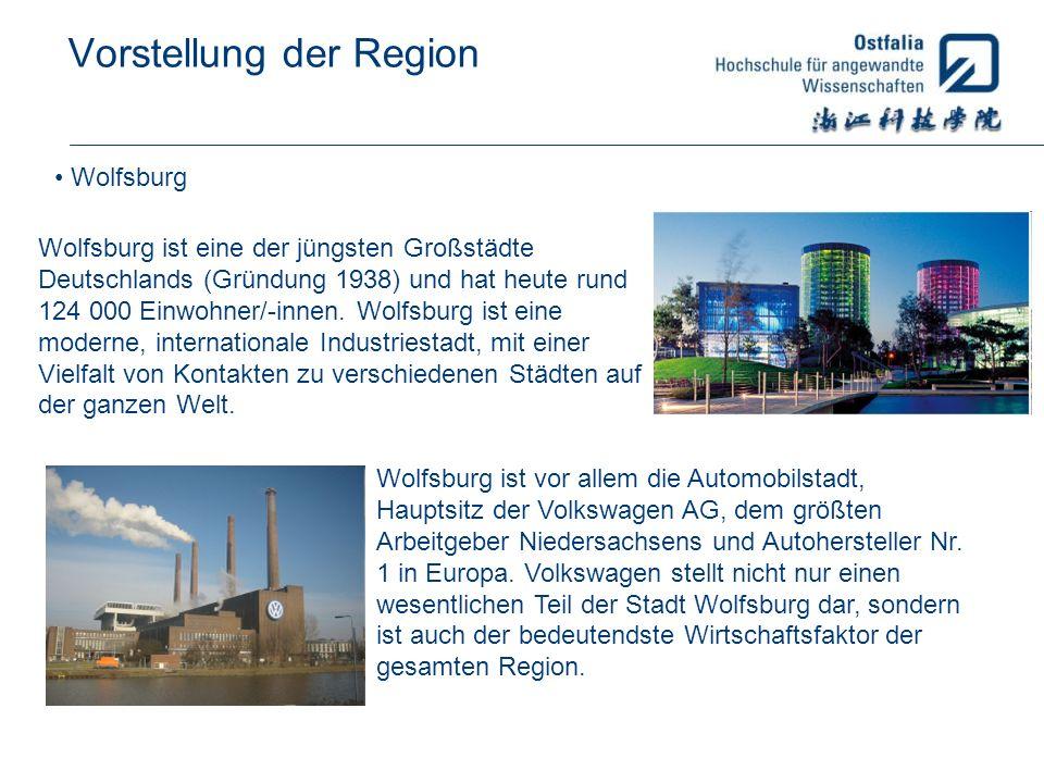 Vorstellung der Region Wolfsburg Wolfsburg ist eine der jüngsten Großstädte Deutschlands (Gründung 1938) und hat heute rund 124 000 Einwohner/-innen.