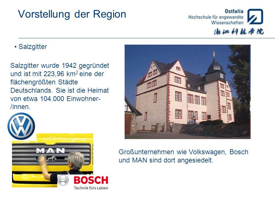 Vorstellung der Region Salzgitter Salzgitter wurde 1942 gegründet und ist mit 223,96 km 2 eine der flächengrößten Städte Deutschlands. Sie ist die Hei
