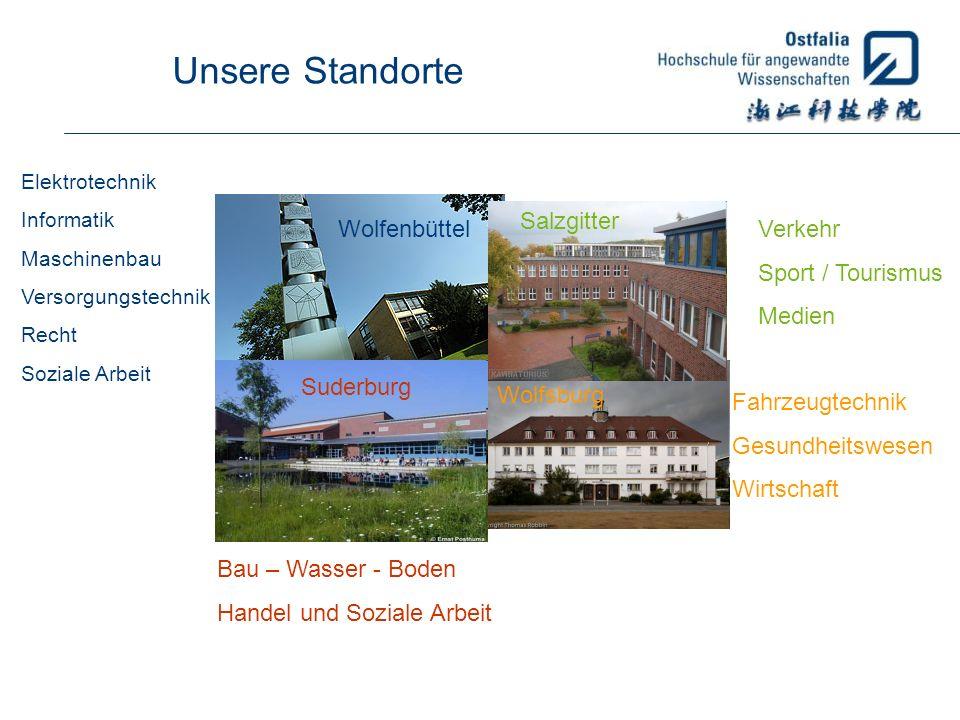 Unsere Standorte Wolfenbüttel Elektrotechnik Informatik Maschinenbau Versorgungstechnik Recht Soziale Arbeit Wolfsburg Fahrzeugtechnik Gesundheitswese