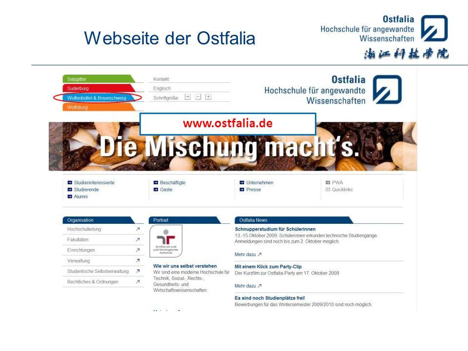 Webseite der Ostfalia www.ostfalia.de