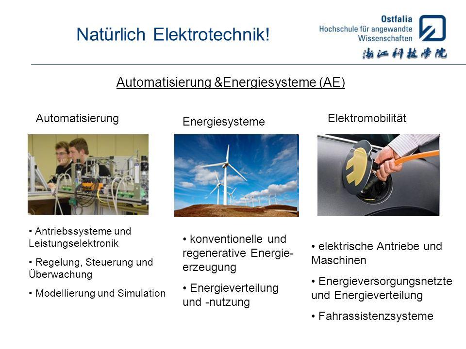 Natürlich Elektrotechnik! Automatisierung &Energiesysteme (AE) Automatisierung Energiesysteme Elektromobilität Antriebssysteme und Leistungselektronik