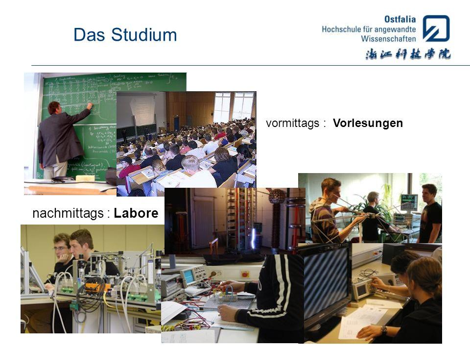 Das Studium vormittags : Vorlesungen nachmittags : Labore
