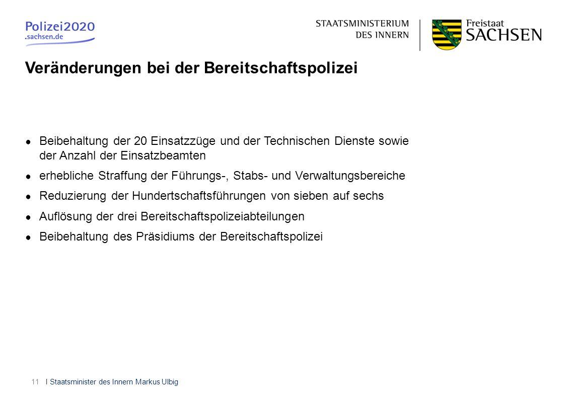 I Staatsminister des Innern Markus Ulbig11 Beibehaltung der 20 Einsatzzüge und der Technischen Dienste sowie der Anzahl der Einsatzbeamten erhebliche