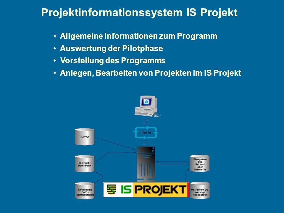 Projektinformationssystem IS Projekt Allgemeine Informationen zum Programm Auswertung der Pilotphase Vorstellung des Programms Anlegen, Bearbeiten von Projekten im IS Projekt