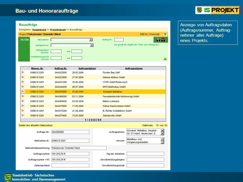 Staatsbetrieb Sächsisches Immobilien- und Baumanagement Bau- und Honoraraufträge Anzeige von Auftragsdaten (Auftragsnummer, Auftrag- nehmer aller Aufträge) eines Projekts.