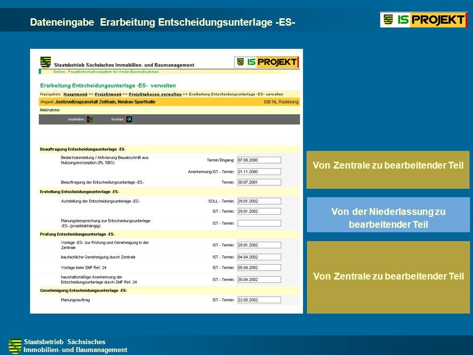 Staatsbetrieb Sächsisches Immobilien- und Baumanagement Dateneingabe Erarbeitung Entscheidungsunterlage -ES- Von Zentrale zu bearbeitender Teil Von Zentrale zu bearbeitender Teil Von der Niederlassung zu bearbeitender Teil