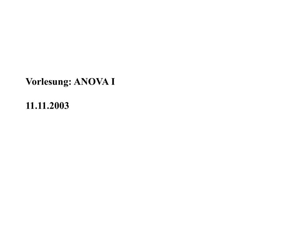 Vorlesung: ANOVA I 11.11.2003