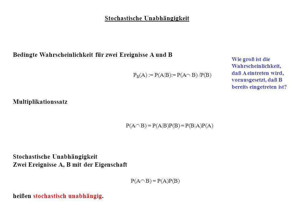 Stochastische Unabhängigkeit Bedingte Wahrscheinlichkeit für zwei Ereignisse A und B Multiplikationssatz Stochastische Unabhängigkeit Zwei Ereignisse
