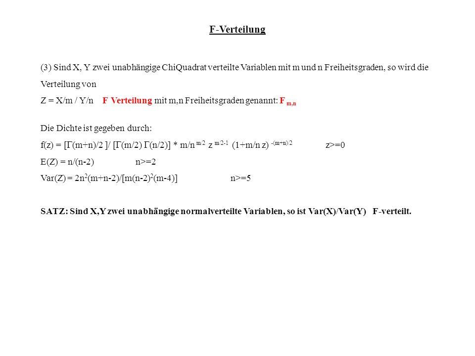 (3) Sind X, Y zwei unabhängige ChiQuadrat verteilte Variablen mit m und n Freiheitsgraden, so wird die Verteilung von Z = X/m / Y/n F Verteilung mit m