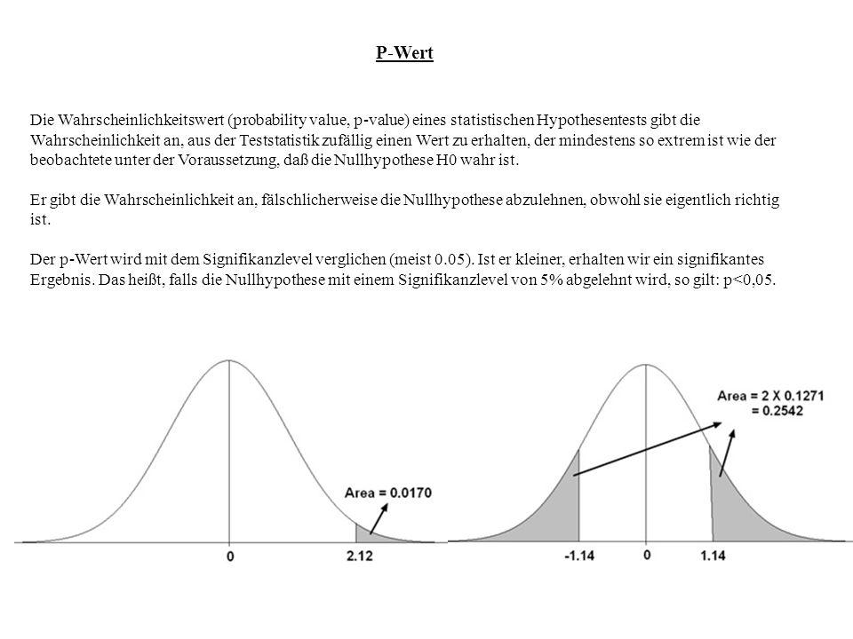 P-Wert Die Wahrscheinlichkeitswert (probability value, p-value) eines statistischen Hypothesentests gibt die Wahrscheinlichkeit an, aus der Teststatis