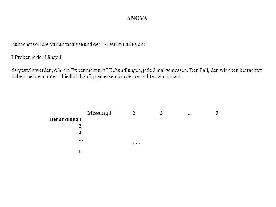 ANOVA Zunächst soll die Varianzanalyse und der F-Test im Falle von: I Proben je der Länge J dargestellt werden, d.h. ein Experiment mit I Behandlungen