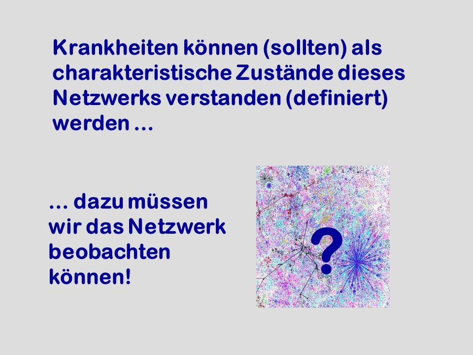 Krankheiten können (sollten) als charakteristische Zustände dieses Netzwerks verstanden (definiert) werden... ?... dazu müssen wir das Netzwerk beobac