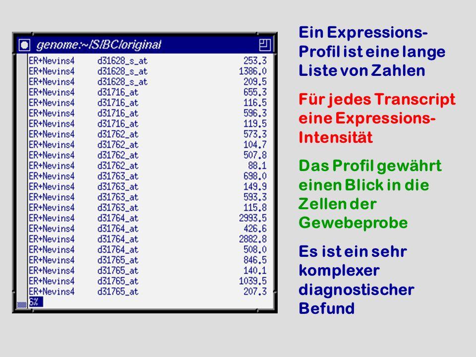 Ein Expressions- Profil ist eine lange Liste von Zahlen Für jedes Transcript eine Expressions- Intensität Das Profil gewährt einen Blick in die Zellen