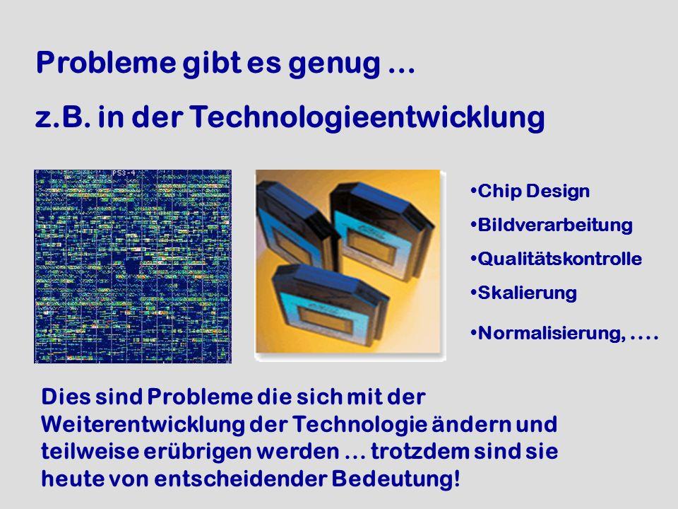Probleme gibt es genug... z.B. in der Technologieentwicklung Chip Design Bildverarbeitung Qualitätskontrolle Skalierung Normalisierung,.... Dies sind
