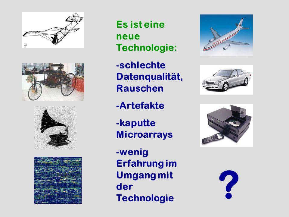 ? Es ist eine neue Technologie: -schlechte Datenqualität, Rauschen -Artefakte -kaputte Microarrays -wenig Erfahrung im Umgang mit der Technologie