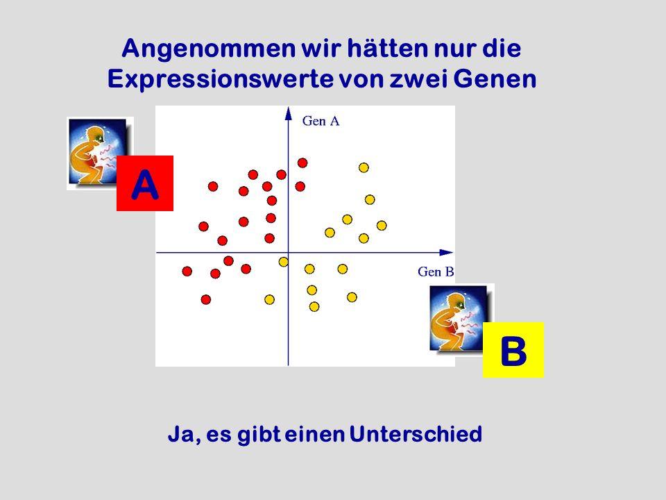 A B Angenommen wir hätten nur die Expressionswerte von zwei Genen Ja, es gibt einen Unterschied