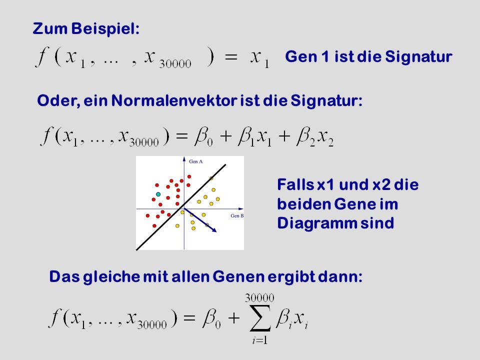 Zum Beispiel: Gen 1 ist die Signatur Oder, ein Normalenvektor ist die Signatur: Falls x1 und x2 die beiden Gene im Diagramm sind Das gleiche mit allen