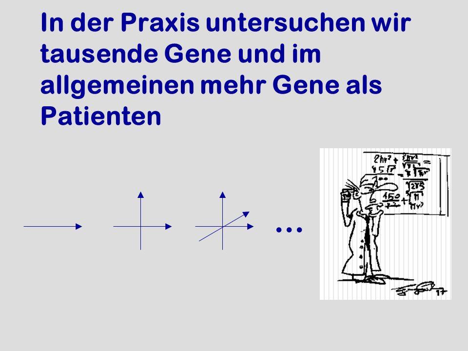 In der Praxis untersuchen wir tausende Gene und im allgemeinen mehr Gene als Patienten...