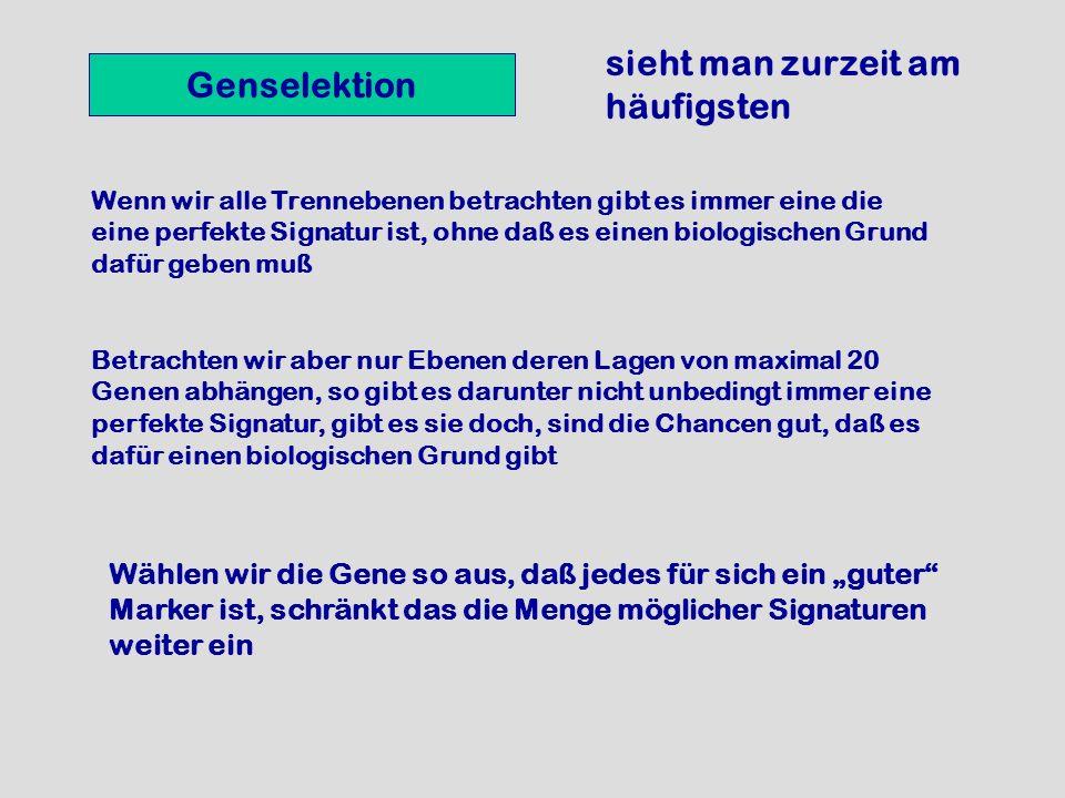 Genselektion Wenn wir alle Trennebenen betrachten gibt es immer eine die eine perfekte Signatur ist, ohne daß es einen biologischen Grund dafür geben