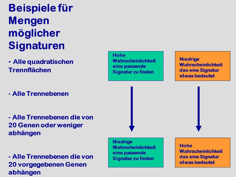 Beispiele für Mengen möglicher Signaturen - Alle quadratischen Trennflächen - Alle Trennebenen - Alle Trennebenen die von 20 Genen oder weniger abhäng