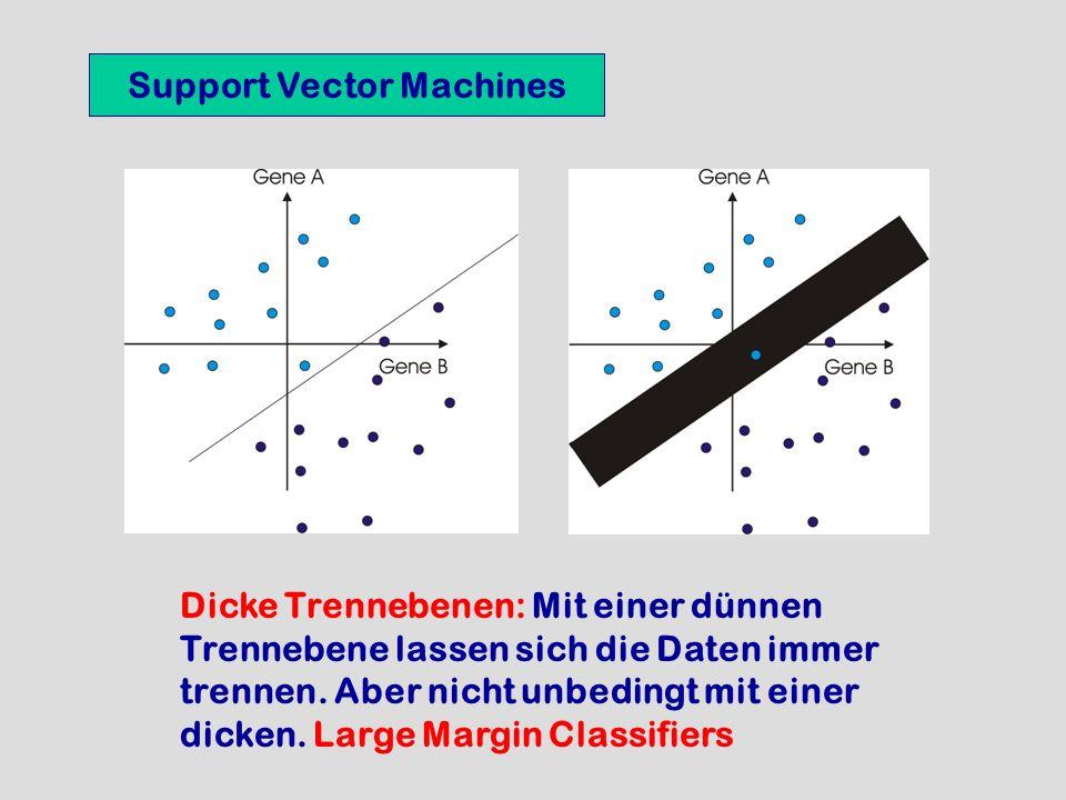 Support Vector Machines Dicke Trennebenen: Mit einer dünnen Trennebene lassen sich die Daten immer trennen. Aber nicht unbedingt mit einer dicken. Lar