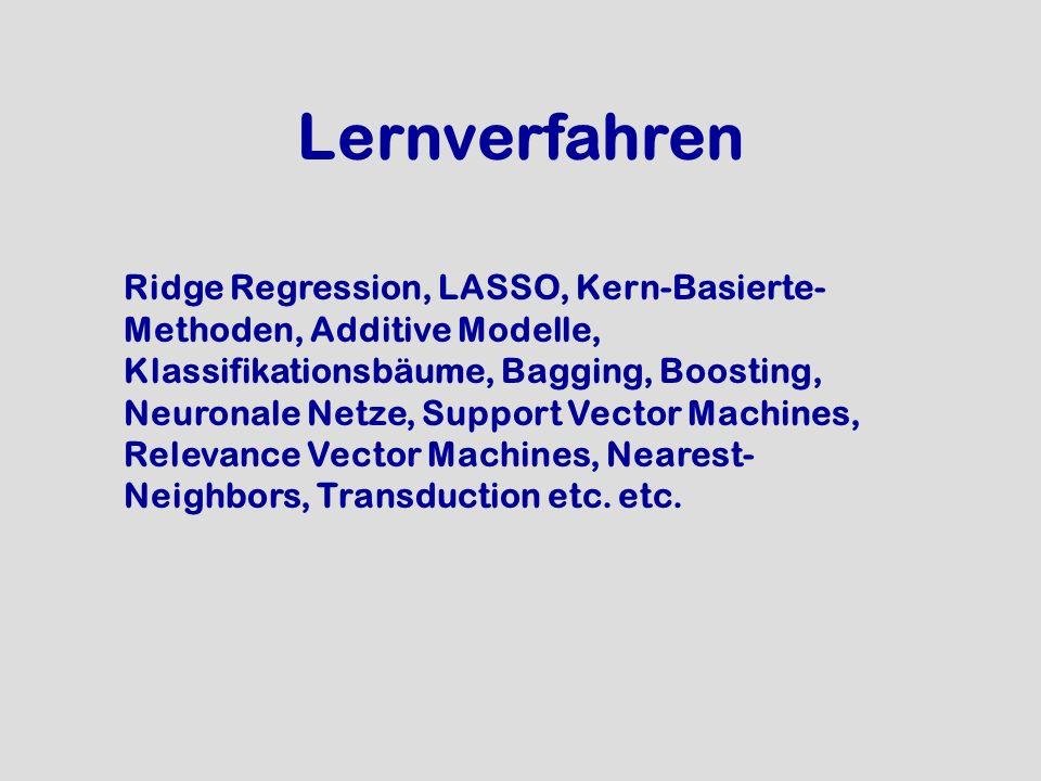 Lernverfahren Ridge Regression, LASSO, Kern-Basierte- Methoden, Additive Modelle, Klassifikationsbäume, Bagging, Boosting, Neuronale Netze, Support Ve