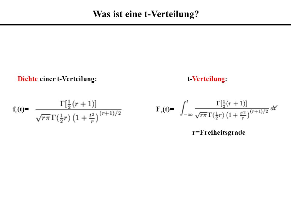 Dichte einer t-Verteilung:t-Verteilung: r=Freiheitsgrade f r (t)=F r (t)= Was ist eine t-Verteilung?