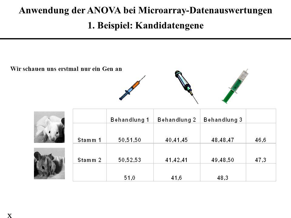 Anwendung der ANOVA bei Microarray-Datenauswertungen 1. Beispiel: Kandidatengene Wir schauen uns erstmal nur ein Gen an x