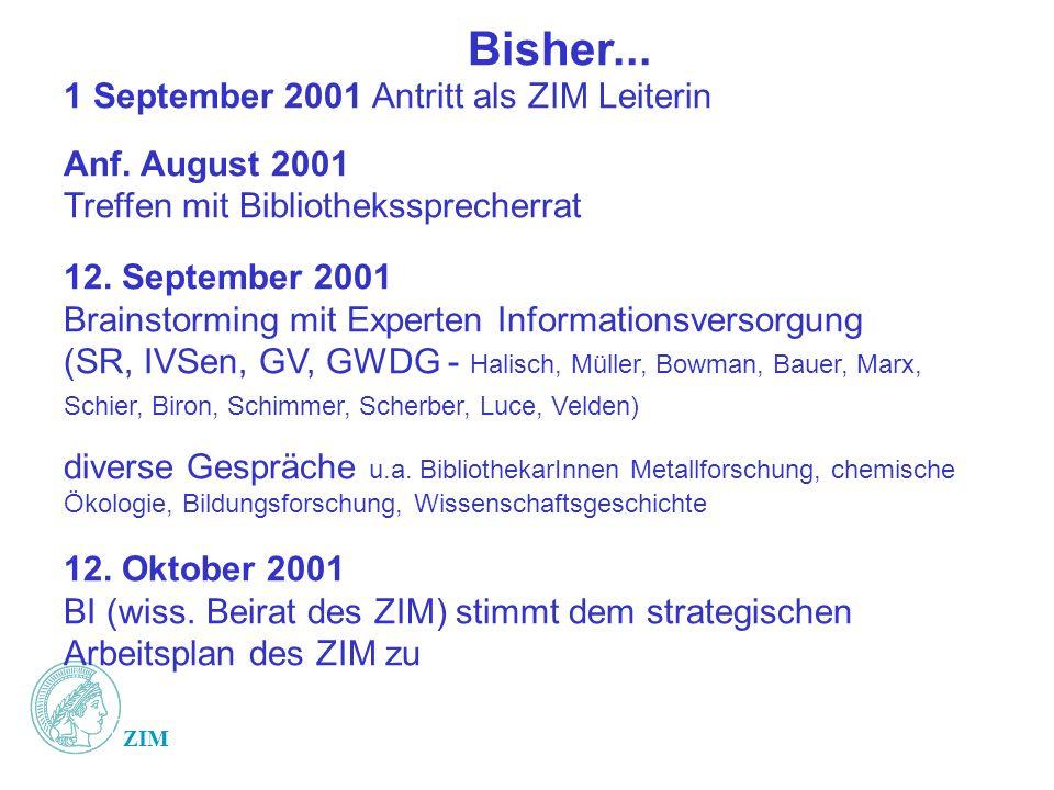 ZIM Bisher... 1 September 2001 Antritt als ZIM Leiterin Anf.