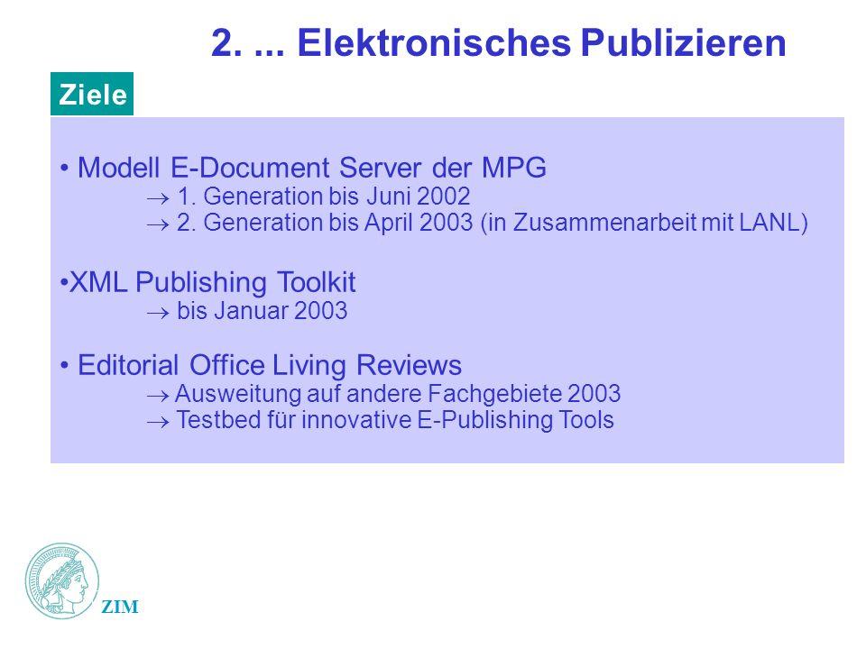 ZIM 2.... Elektronisches Publizieren Modell E-Document Server der MPG 1.