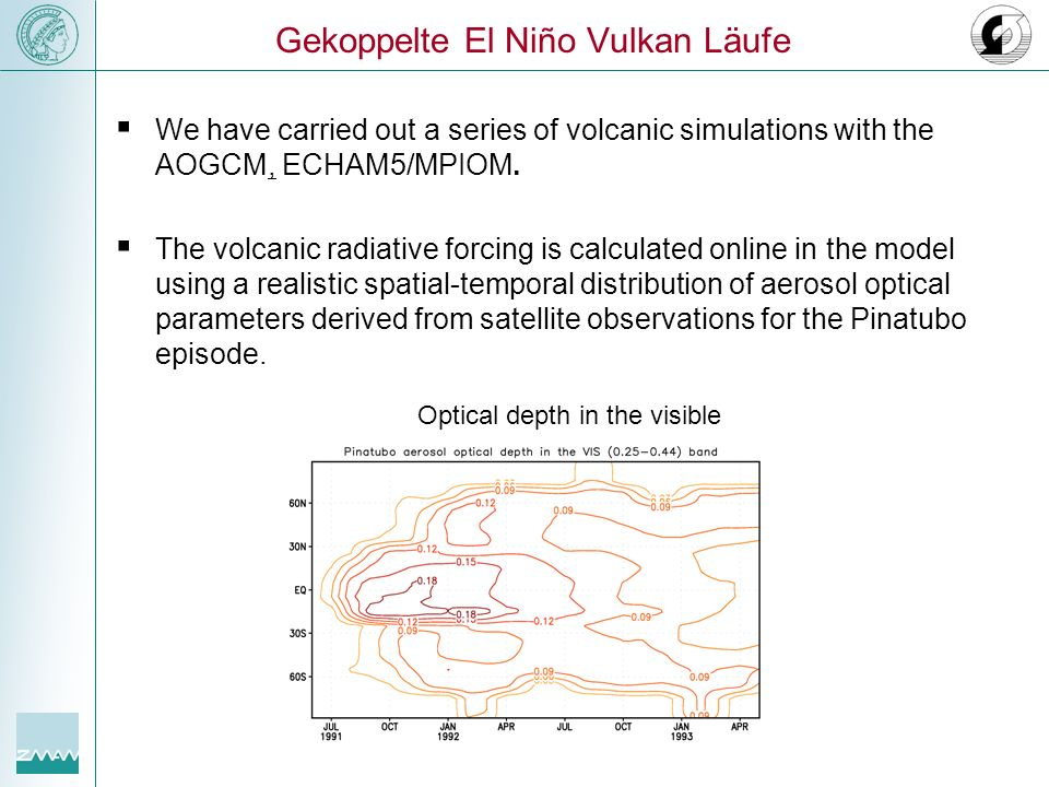 We have carried out a series of volcanic simulations with the AOGCM, ECHAM5/MPIOM. The volcanic radiative forcing is calculated online in the model us