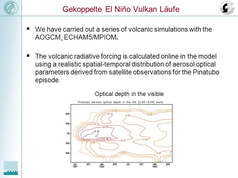 Oberflächenemperaturanomalien [K] Sommereruption Meer Land Global
