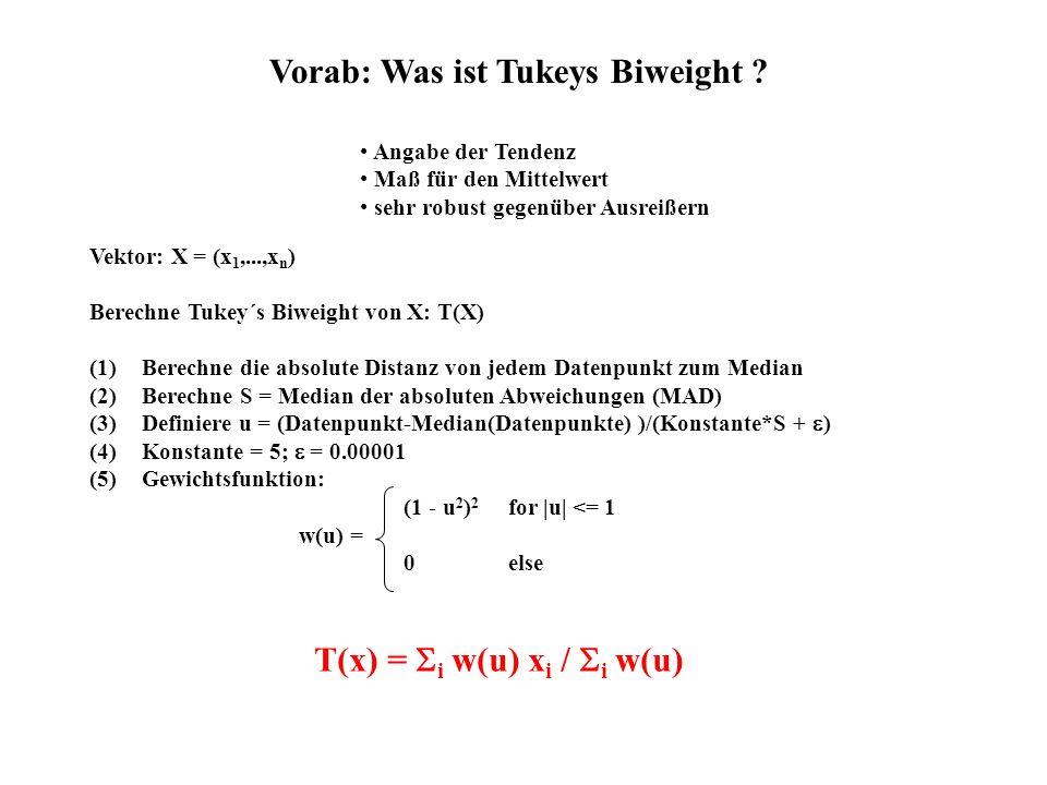 (1 - u 2 ) 2 for |u| <= 1 0else Vorab: Was ist Tukeys Biweight ? Angabe der Tendenz Maß für den Mittelwert sehr robust gegenüber Ausreißern Vektor: X