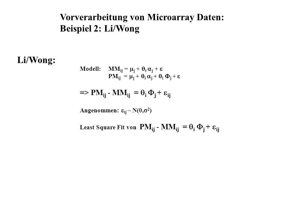 Modell: MM ij = j + i j + PM ij = j + i j + i j + => PM ij - MM ij = i j + ij Angenommen: ij ~ N(0, 2 ) Least Square Fit von PM ij - MM ij = i j + ij