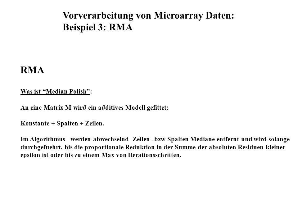 Vorverarbeitung von Microarray Daten: Beispiel 3: RMA RMA Was ist Median Polish: An eine Matrix M wird ein additives Modell gefittet: Konstante + Spal