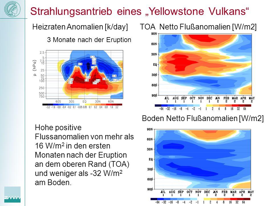 Hohe positive Flussanomalien von mehr als 16 W/m 2 in den ersten Monaten nach der Eruption an dem oberen Rand (TOA) und weniger als -32 W/m 2 am Boden