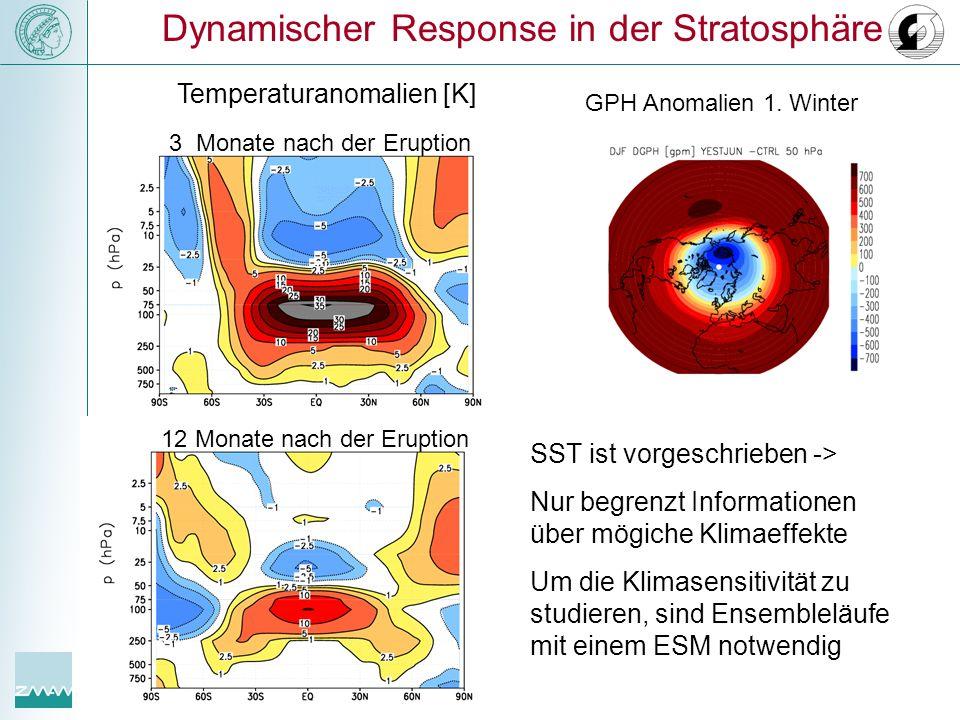 Dynamischer Response in der Stratosphäre 12 Monate nach der Eruption 3 Monate nach der Eruption Temperaturanomalien [K] GPH Anomalien 1. Winter SST is