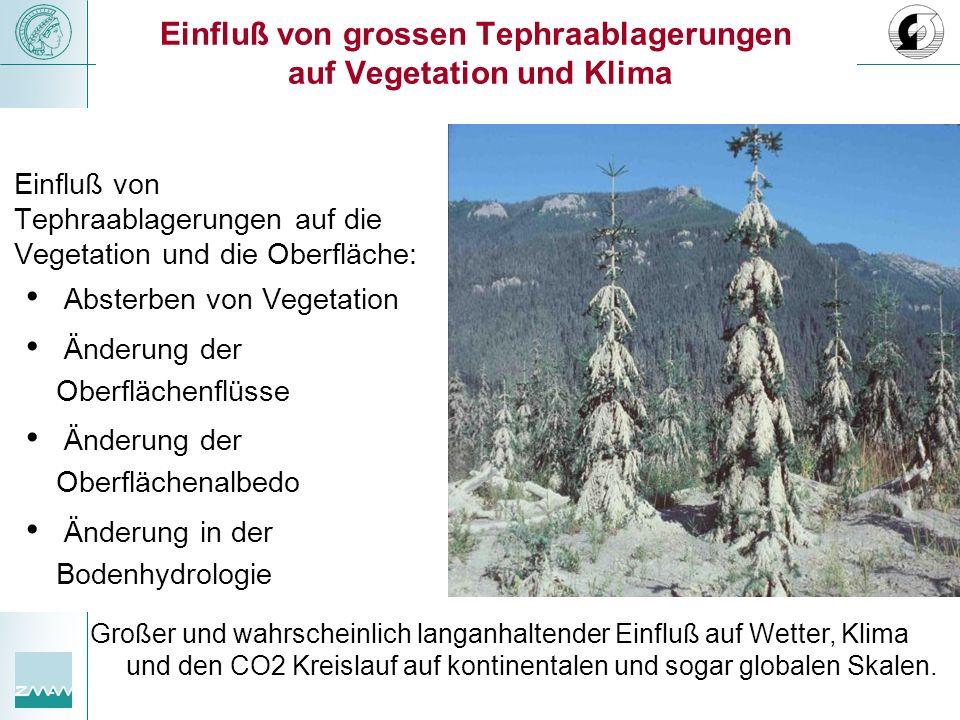 Einfluß von grossen Tephraablagerungen auf Vegetation und Klima Einfluß von Tephraablagerungen auf die Vegetation und die Oberfläche: Absterben von Ve