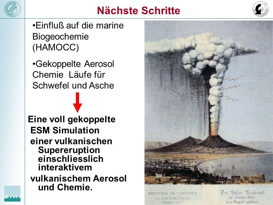 Eine voll gekoppelte ESM Simulation einer vulkanischen Supereruption einschliesslich interaktivem vulkanischem Aerosol und Chemie. Nächste Schritte Ei