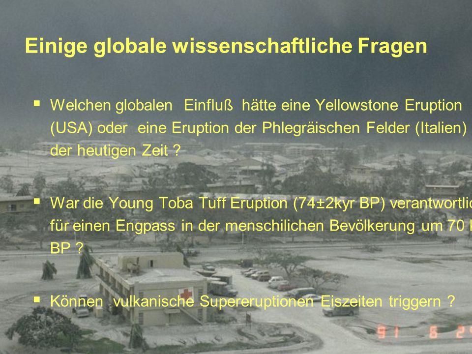 Einige globale wissenschaftliche Fragen Welchen globalen Einfluß hätte eine Yellowstone Eruption (USA) oder eine Eruption der Phlegräischen Felder (It