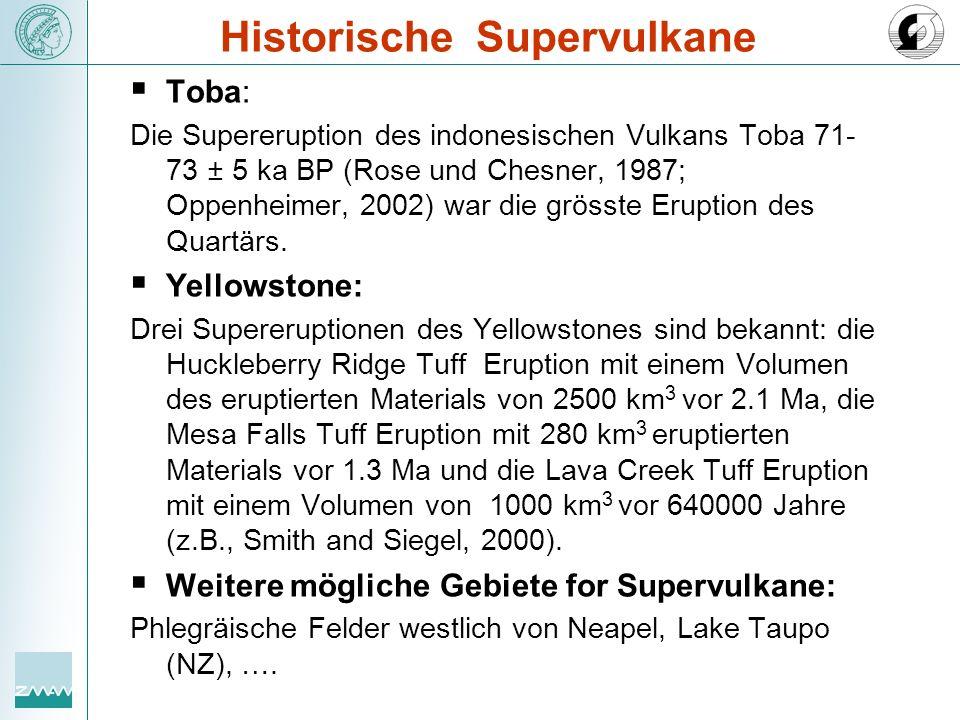 Historische Supervulkane Toba: Die Supereruption des indonesischen Vulkans Toba 71- 73 ± 5 ka BP (Rose und Chesner, 1987; Oppenheimer, 2002) war die g